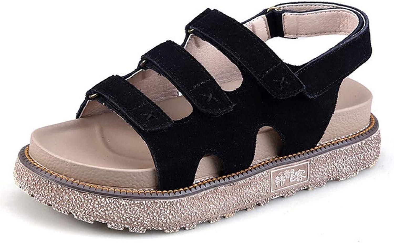 JOYBI Women's Sandals Soft Cushion Platform Thick Rubber Sole Premium Cow Suede Upper Hook Loop Casual Flip Flops