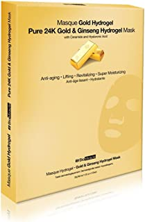 BioMiracle Pure 24K Gold & Ginseng Anti-aging and Revitalizing Hydrogel Mask with Ceramide and Hyaluronic acid 1.05 Oz. (Pack of 3)