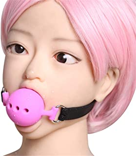 Role Play Stomatal Passion Faux Leather Mouth Open Gag Play Ball O-Ring Costume Cosplay Masquerade Hallowmas Funny Toy (Pink)