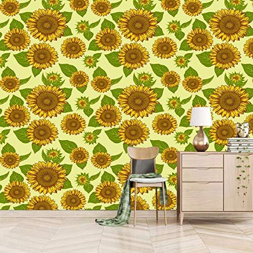 Msrahves fotomurales decorativos pared Amarillo plantas girasoles retro pared vinilos decorativos papel fotografico 3D Fondos de pantalla Fondo Pared Sala de estar Dormitorio TV Sofá Mural Papel tapiz