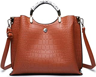 Trendy Ladies Fashion Handbag Embossed Shoulder Bag Versatile Handbag Large Capacity Handbag Zgywmz (Color : Brown, Size : 30 * 25 * 14cm)