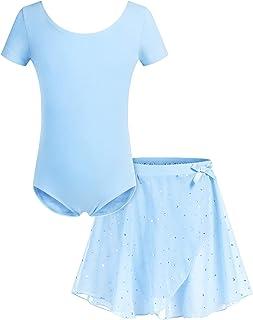 Bricnat Mädchen Ballettkleidung Ballettkleid Kinder Tanzbody Kurzarm Lange Ärmel Balletttrikot Tanzkleid aus Baumwolle mit Chiffon Rock Tütü