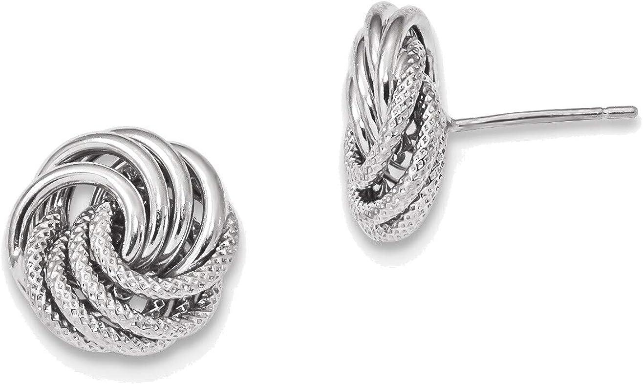 14kt White Gold Polished Textured Fancy Swirl Post Earrings