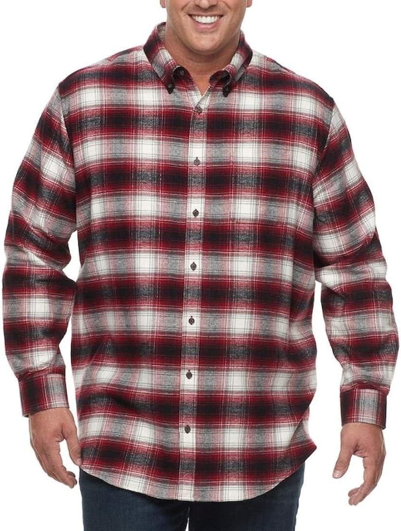 Croft & Barrow Mens Classic Fit Flannel Shirt Red Plaid