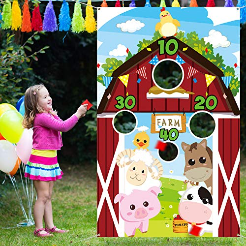 Farm Animals Toss Game with 3 Nylon Bean Bags  Indoor and Outdoor Farm Animals Party Game for Kids and Adults  Farm Theme Birthday Party Decorations and Supplies