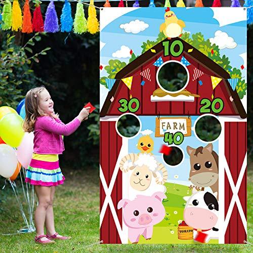 Bauernhof Tier Werfen Spiele mit 3 Nylon Sitzsäcken, Lustiges Karneval Werfen Spiele, Bauernhof Tier Thema Party Dekorationen und Lieferungen