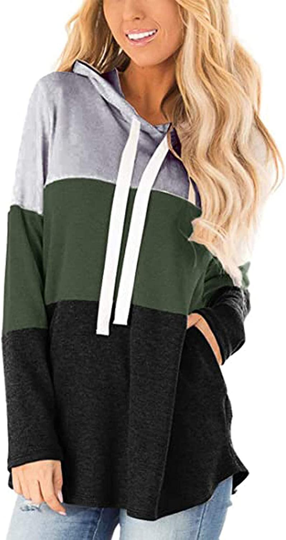iQKA Women Color Block Sweatshirt Phoenix Mall Sleeve Long Pocketed Year-end gift Casu Tops