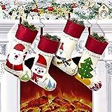 Calcetín Navidad 4 Piezas, Medias de Navidad grande 46 x 20 cm, Medias de Navidad Bolsa de Regalo, Decoración Navideña Tema Papá Noel, Muñeco de Nieve, Oso, Árbol, Adorno de Calcetín Navidad Chimenea