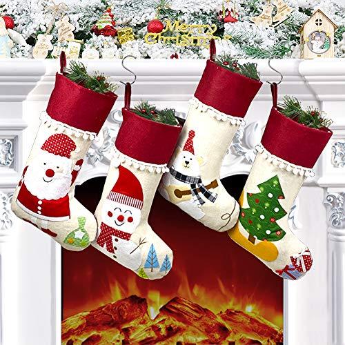 Chaussette de Noel, Lot de 4 Grande Chaussette Noel a Suspendre, Cartoon Deco Noël Sapin Père Noël Bonhomme de Neige Sac Cadeau pour Decoration Noel Cheminée Vitrine Sac de Bonbons