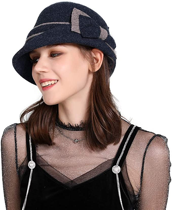 1920s Hat Styles for Women – History Beyond the Cloche Hat Jeff & Aimy Women Winter Wool Bucket Hat 1920s Vintage Cloche Bowler Hat with Bow/Flower Accent  AT vintagedancer.com