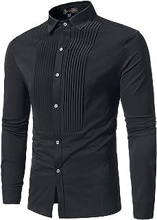 قمصان رياضية كاجوال للرجال بأكمام طويلة منقوشة بأزرار سفلية JZA102