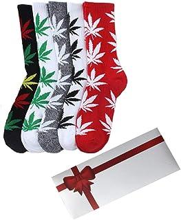 TTD, 5 paquetes unisex hoja de hierba impresa calcetines de algodón de hoja de arce impreso calcetines con caja de regalo atletismo deportes marihuana alto equipo calcetines