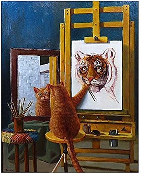 Amazon Com Picture Peddler Norman Catwell By Louise Heffernan Tabby Cat Tiger Humorous Whimsical Funny Art Print Poster 16x20 Posters Prints
