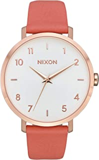 Nixon Arrow Casual Women's Watch (38mm. Leather Band) Rose Gold/Salmon