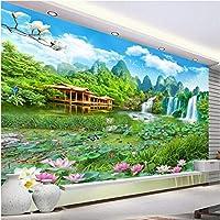 Clhhsy ジャイアントランドスケープワンダーランド3Dランドスケープウォールカスタムラージ壁画グリーン壁紙-250X175Cm