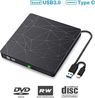 Lecteur CD DVD Externe, SAWAKE Graveur CD Externe avec Interface USB 3.0 et Type-C,..