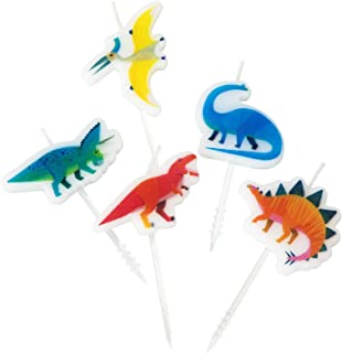 Talking Tables Dino Dinosaur Birthday Candle Cake Toppers, Pack of 6, Wax Height 3cm, 1