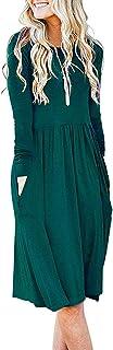 AUSELILY Women's Long Sleeve Pockets Empire Waist Pleated Loose Swing Casual Flare Dress (S, Dark Green)