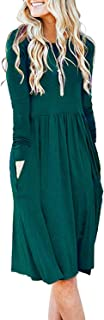 Women's Long Sleeve Pockets Empire Waist Pleated Loose Swing Casual Flare Dress