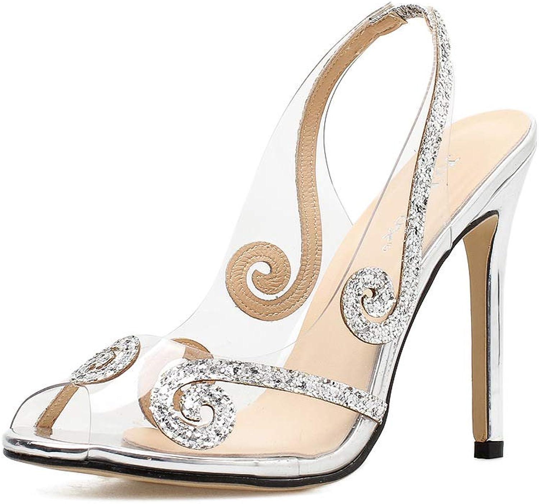 Sandaler Rensa Stilettos Slingback PVC Sandaler Bröllopsklädsel Rhinestone Pump skor skor skor Shiny  till lägsta pris