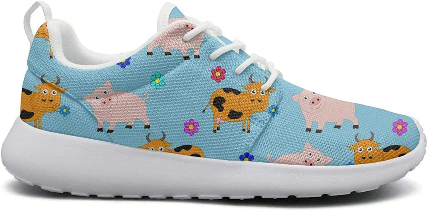 Gjsonmv Consisting of Pigs and Cows Flowers mesh Lightweight shoes for Women Cool Sports Athletic Sneakers shoes