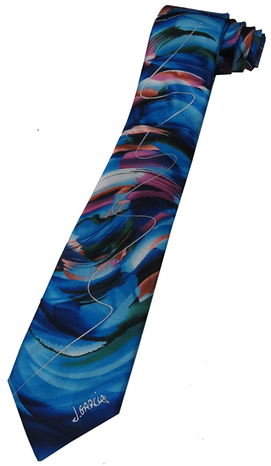Men's Jerry Garcia Patterned Tie Necktie - Duck Worm Alarm - Blue