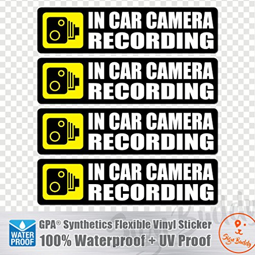 (Pack of 4 pcs) in Car Camera Recording Sticker Dash Cam on Board Video Bumper Baby Decal