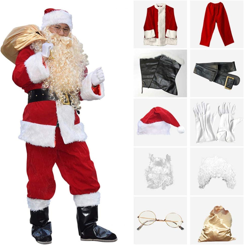 FAFY Weihnachten Verdicken Santa Claus Kostüm, Deluxe Velour Sankt-Klage, Weihnachtsmann-Kostüm-Erwachsene Mnner Weihnachten Kostüme,warm Halten, 10 Stück Kostüm, S-L,L