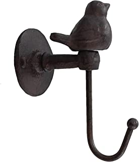 CTW 520013 Decorative Cute Metal Bird Wall Mounted Hook for Hanging Pet Leashes Coats Scarfs Bags Keys Caps Hats Towels Cast Iron Metal, Rustic Country Farmhouse Style Home Decor, Brownish Black