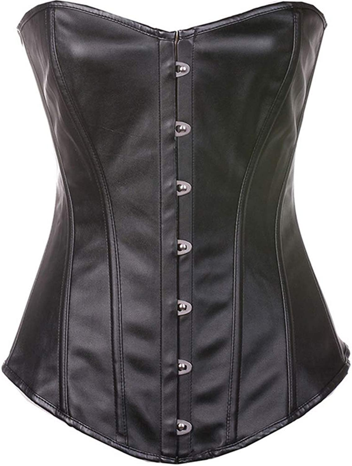 Sexy Women's Clothing Leather Palace Corset PU Steel Buckle Corset Breast Corset Black Red,Black,XXL