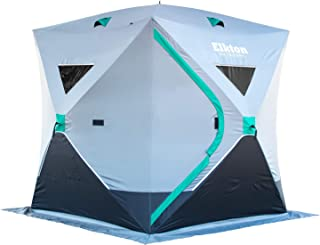 Elkton Outdoors Portable 3-8 Person Ice Fishing Tent with Ventilation Windows and Carry Pack, Ice Fishing Shelter Includes Tent, Carry Pack, Ice Anchors and Storage Compartments