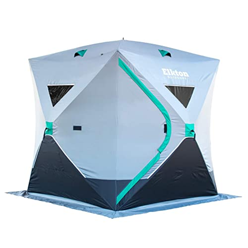 Elkton Outdoors Portable 3-8 Person Ice Fishing Tent with Ventilation Windows and Carry Pack