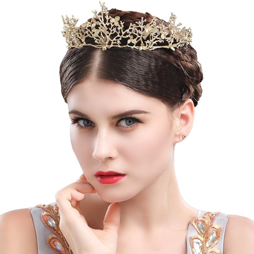 提案するメロディートリプルYeanティアラ 王冠 おうかん クラウン ヘアアクセサリー ゴールド レディース ガールズ 女性 プリンセス 結婚式 ウェディング 花嫁 披露宴 パーティー (Color-05)