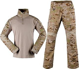LANBAOSI Men's Military Combat Shirt Hunting Tactical Uniform Quick Dry Long Sleeve & Pants Suit Combat Outfits Military Pants Paintball