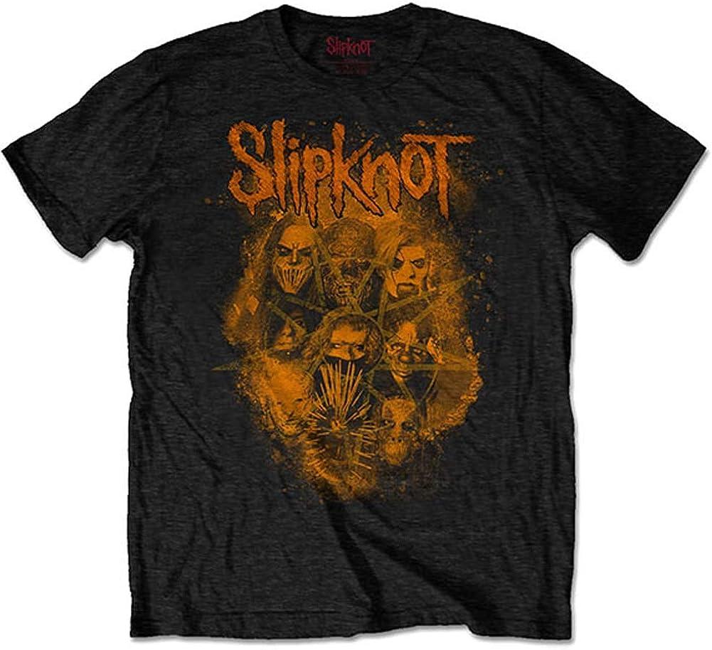 Slipknot Men's WANYK Orange Superior Back Print Gifts Slim T-Shirt Fit Small