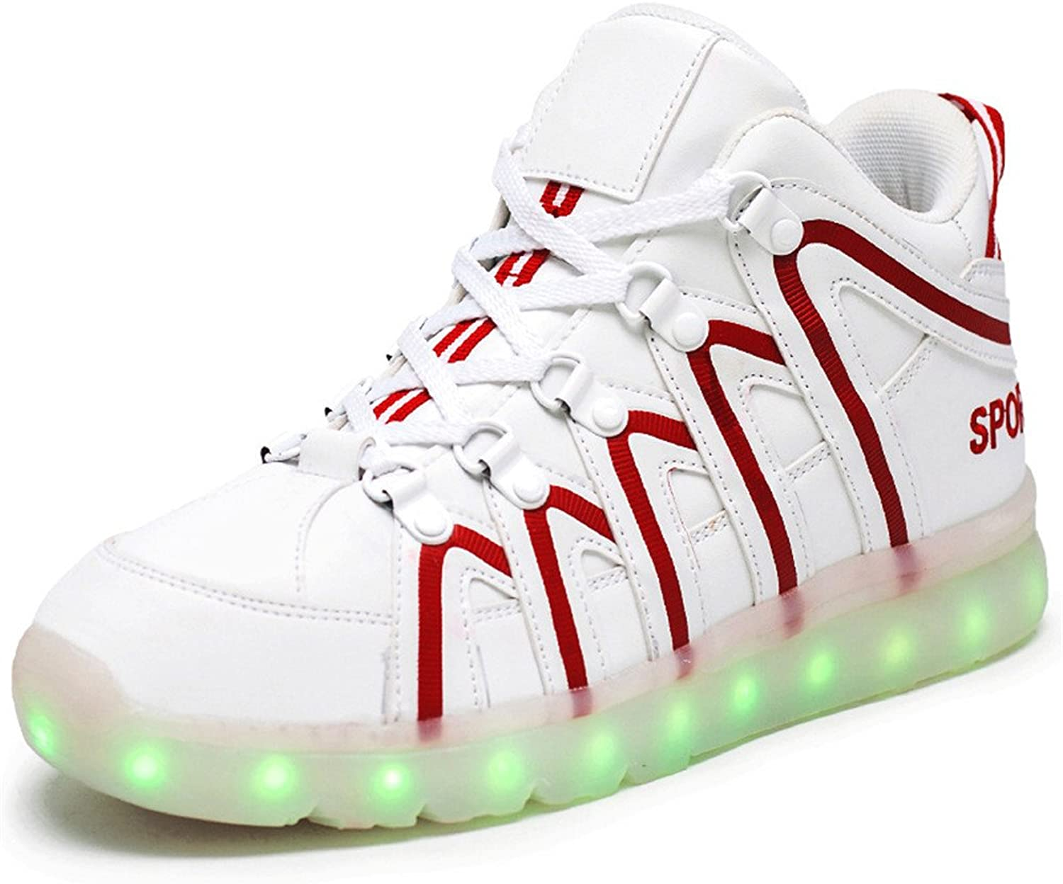 Hanglin Trade Women's Men's 7 colors Light USB Charging LED Light-Up Sport shoes Flashing Sneakers
