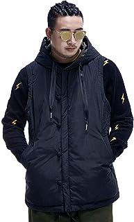 タンクトップ ベストベスト大サイズメンズベストファット冬暖かいジャケット中国風のプレートバックルコットン服厚いフード付きベスト潮 (Color : Black, Size : 3XL)