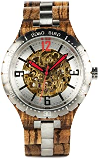 BOBO BIRD Brand Design Mens Wooden Automatic Mechanical Watches Multifunction Business Luxury Wood Watch for Men