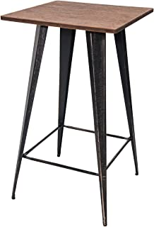 Merax Bar Table No Chairs Pub Tables Bar Height 40 Inch High Vintage Bistro Table Metal Rectangular (Antique Black)