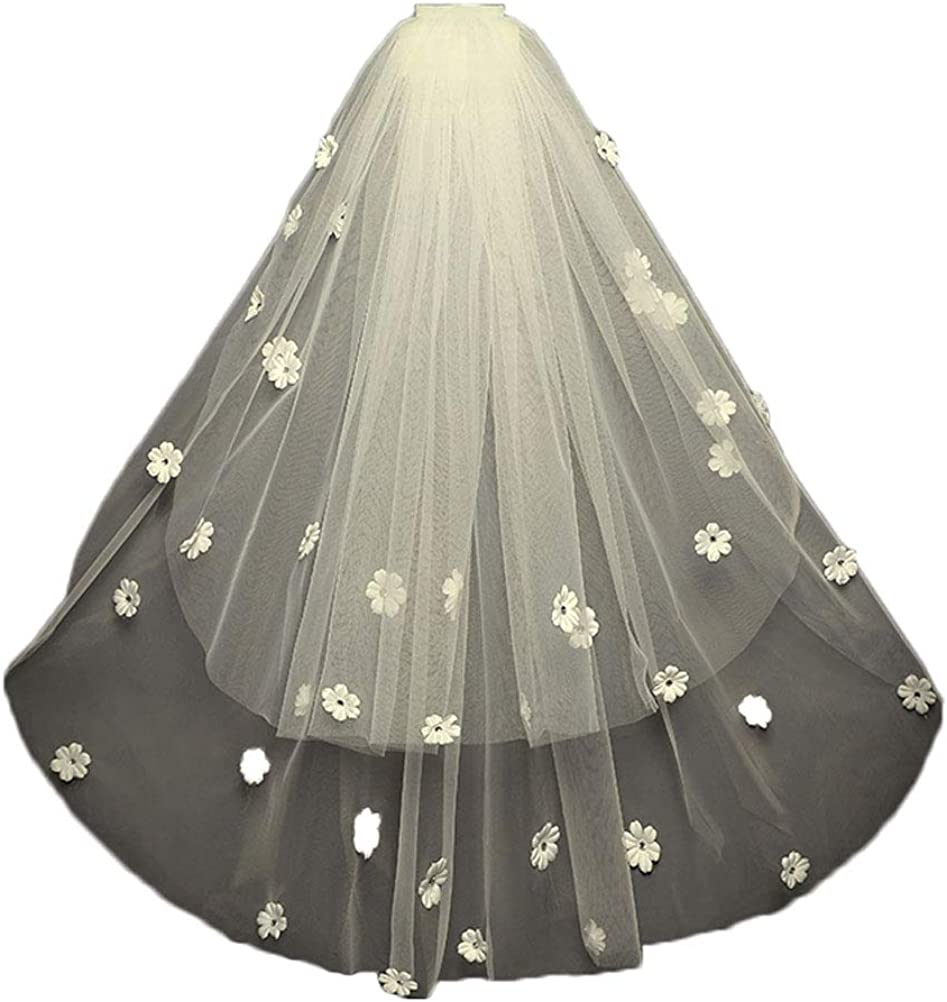 2T Soft Tulle Wedding Veil for Brides White Flower with Headpiece free Comb