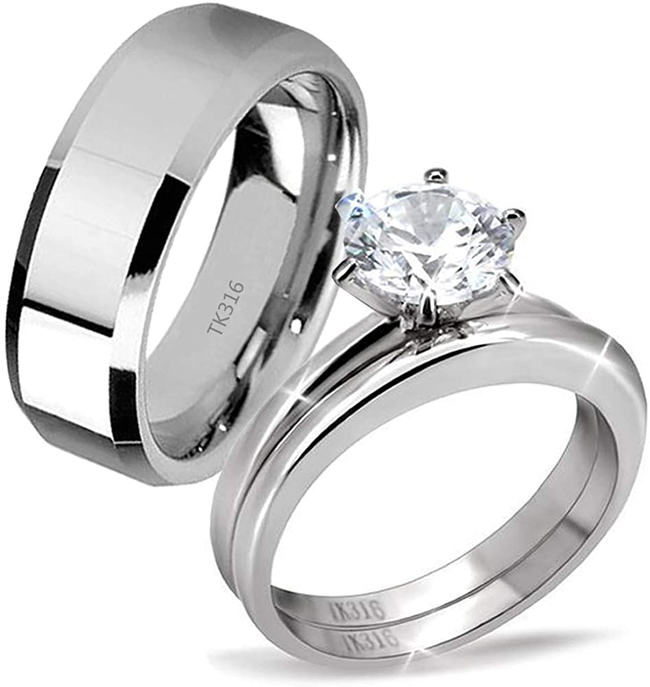 MABELLA His Hers Stainless Steel Men's Band Women Cubic Zirconia Round Cut Wedding Engagement Ring Set
