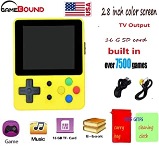 Gamebound LDK Game 4:3 Retro Handheld Game Console - Yellow + FREE GIFTS CARRY BAG