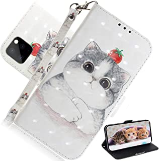 EMAXELER iPhone 11 Pro Max Case 3D Creative Cartoon Pattern PU Leather Flip Wallet Case Kickstand Credit Cards Slot Stand Case Cover for iPhone 11 Pro Max 6.5 inch Cute Cat TX.