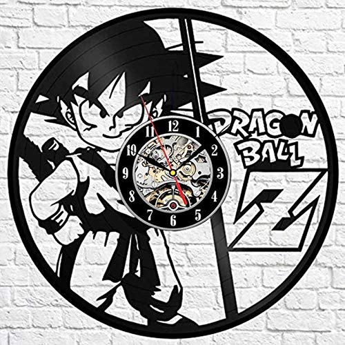 NIUYGB Retro CD Dragon Ball Reloj de Pared Serie Wukong Pegatinas 3D Disco de Vinilo Retro Reloj de Pared Reloj de Pared Reloj de Pared Interior Lleno de Recuerdos de la Infancia