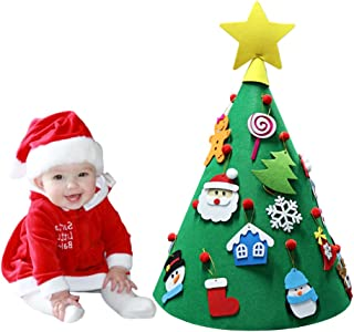OurWarm 3D DIY Felt Christmas Tree with Hanging Ornaments, Cone Felt Christmas Tree for Toddlers Kids Xmas Gifts Christmas Home Decorations