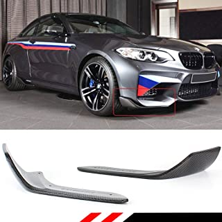 Fits for 2016-2019 BMW F87 M2 M2C Performance Style 2 Pieces Carbon Fiber Front Bumper Splitters Spoilers