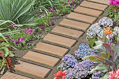Gartenwelt Riegelsberger Rollweg für den Weg im Garten Gartentritte Holz-Tritte Holz-Fliesen Gartenweg Lärche Natur 35x250 cm