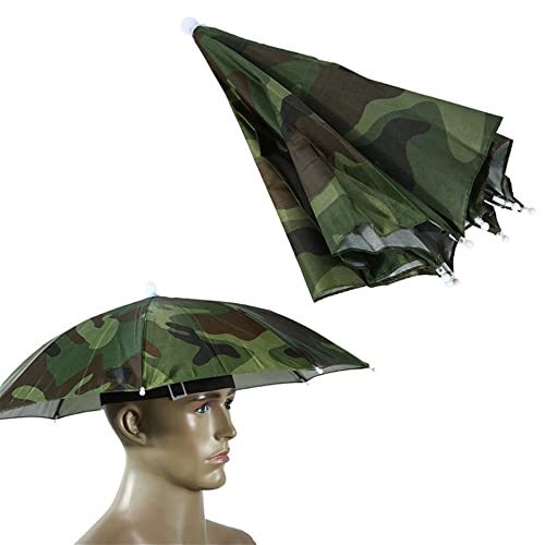 204abaf302e Fostly Umbrella Hat Camouflage Fishing Umbrella Headwear Umbrella Hat Sun  Shade Cap For Fishing Gardening Photography
