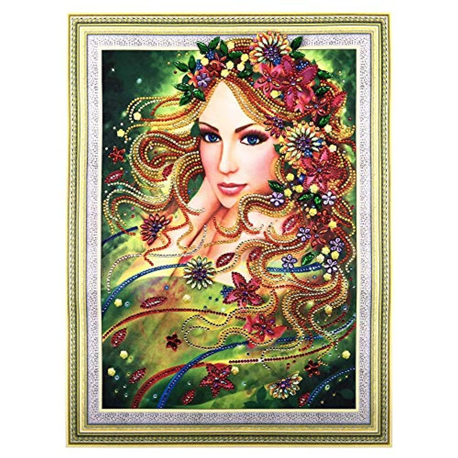 Hibah DIY 5D Diamond Painting Special Shape Diamond Mosaic Set, Cross Stitch Rhinestones Europe and The United States Modern Beauty Embroidery Picture 40x50cm (5)