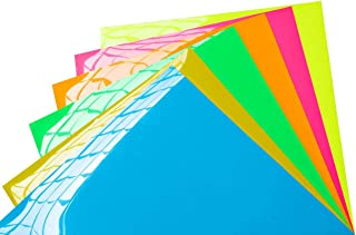 MiPremium PU Heat Transfer Vinyl, Iron On Vinyl Starter kit of 6 pre Cut Sheets in Neon Colors. Easy to Cut, Weed & Press Heat Press Vinyl Bundle for Silhouette Cameo & Cricut (6 x Neon Pack)